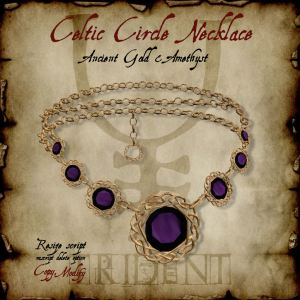 Celtic Circle Necklace Gold Amethyst HR