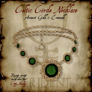 Celtic Circle Necklace Gold Emerald HR