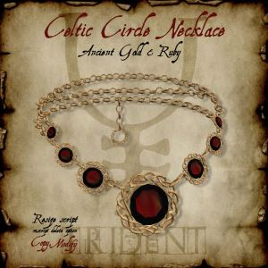 Celtic Circle Necklace Gold Ruby HR