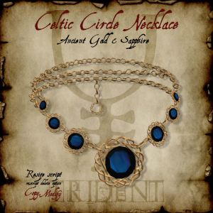 Celtic Circle Necklace Gold Sapphire HR