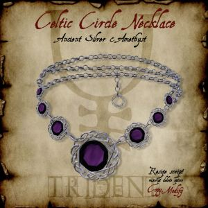 Celtic Circle Necklace Silver Amethyst HR