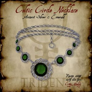 Celtic Circle Necklace Silver Emerald HR