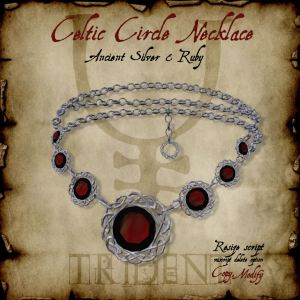 Celtic Circle Necklace Silver Ruby HR