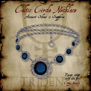 Celtic Circle Necklace Silver Sapphire HR