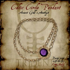 Celtic Circle Pendant Gold Amethyst HR