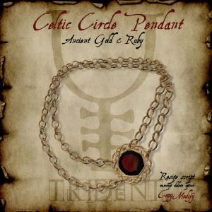 Celtic Circle Pendant Gold Ruby HR