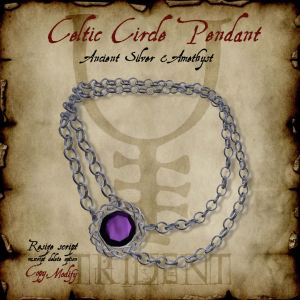 Celtic Circle Pendant Silver Amethyst HR