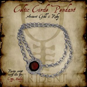Celtic Circle Pendant Silver Ruby HR