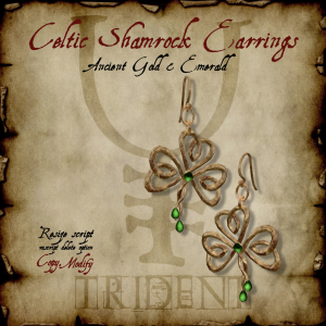 Celtic Shamrock Earrings Gold HR