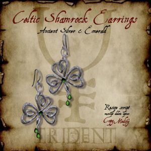 Celtic Shamrock Earrings Silver HR