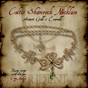 Celtic Shamrock Necklace Gold HR