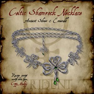 Celtic Shamrock Necklace Silver HR